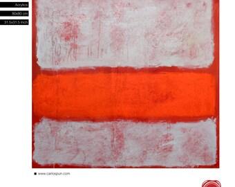 "Rothko Orange Landscape, Free Shipping ,Acrylic, 31.5""x 31.5"" inches (80x80cm) Ready to Hang, Original Painting, Carlos Pun Art"