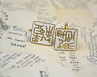 1960s Korean Text Enamel Screw Back Earrings