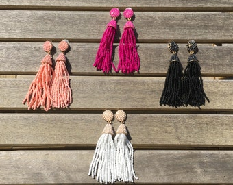 5 Colors/ Beaded Tassel/ Tassel Earrings/ Long Tassel Earrings/ Colorful Beaded Tassel/ Statement Earring