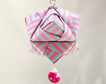 Cotton Candy Blue and Pink Striped Handmade Origami Christmas/Holiday Ornament