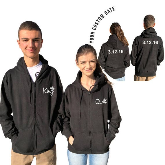 KING QUEEN couple zip up hoodies, custo dates on the back, matching hoodie , Comes in a pair Matching Expedited Shipping**
