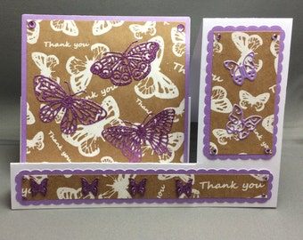 Lilac Glittered and White Butterflies Side Stepper Thank You Card