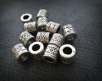 10 Large Hole Beads | European Beads | Bracelet Beads | Spacer Beads | 7mm x 4.5mm Hole | Heart Beads | Mens Bracelet Beads | Big Hole Beads