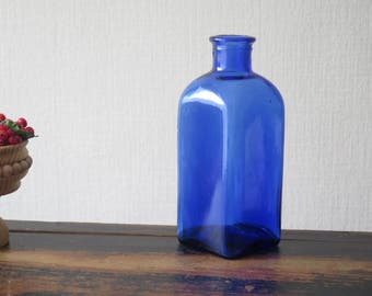Cobalt Blue Glass Bottle Vintage Blue Vase @207