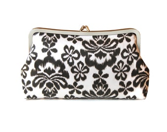 Boho clutch, Ikat purse, Ikat clutch, African print bag, Fabric clutch purse, Brown clutch, Everyday bag, Metal frame purse, Brown handbag