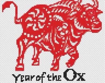 Ox Cross Stitch Chart, Year of the Ox Cross Stitch Pattern PDF, Asian Cross Stitch, Chinese Zodiac Cross Stitch, Art Cross Stitch