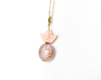 angel necklace, guardian angel charm, gold necklace, pink angel, glass jewelry, necklaces for women, angel charm,angel jewelry, gift for her