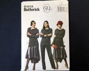 Top, Skirt & Pants Uncut Pattern, 1920s Retro Style, Butterick 5858, Size 6, 8, 10, 12, 14