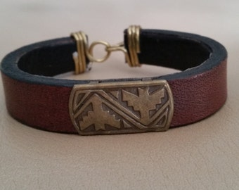MENS WOMENS LEATHER Bracelet. Narrow Burgundy Leather, Brass Antique Rectangular Concho, Wire Wrap Hook & Eye Closure. Thin Wristband.