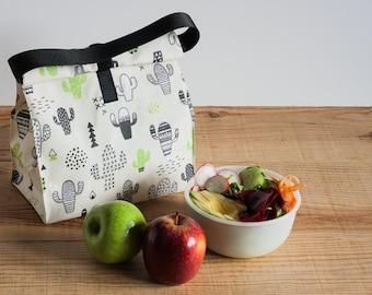 Bolsa almuerzo estampado cactus. Bolsa de merienda reutilizable. Bolsa fruta. Productos cero residuo. Bolsa picnic.