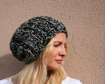 Womens winter hat, Hand knit hat, Slouchy beanie, Chunky knit hat, Knitted wool hat, womens gift,
