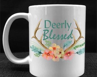 MUG, COFFEE CUP, Deerly Blessed, Drinkware, Gift