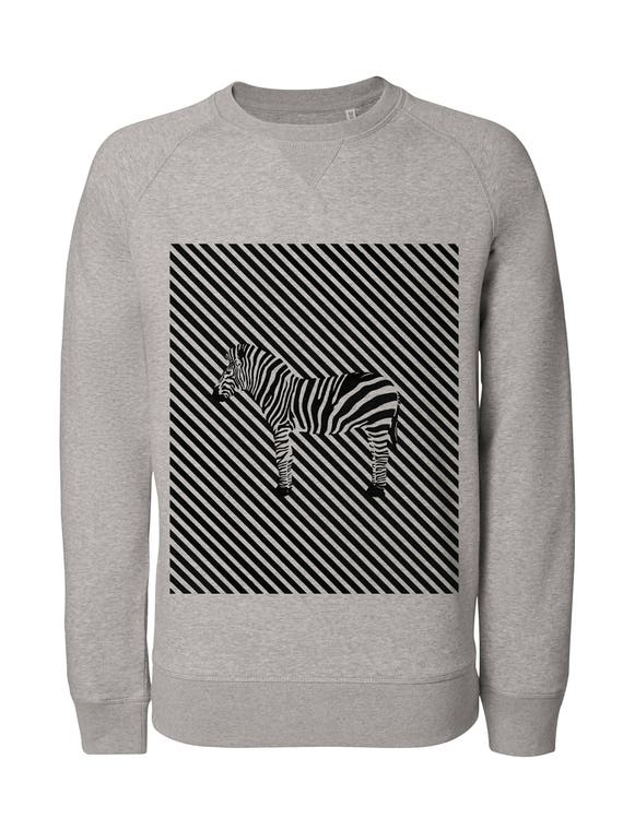 Zebra Sweatshirt / / man / / women / / organic cotton / / organic ink / / gray / / handmade Illustration / / linework / / Zebra / / Geometric draw 6en6qErZvD