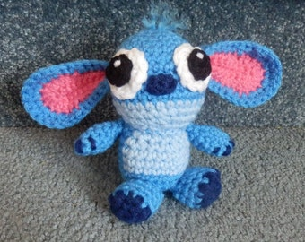Made to order, Hand crocheted Disney Stitch blue monster Creature Amigurumi Doll