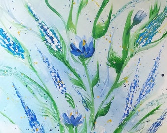 Spring flowers, gift, art, acrylic painting