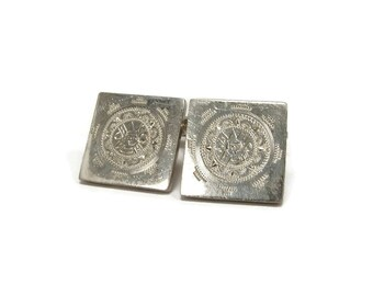 Vintage PROSA Sterling Cuff Links, Sun Dial Cufflinks, Taxco Mexico Eagle Mark 5, Vintage Cuff Links, Sterling Silver, Fathers Day