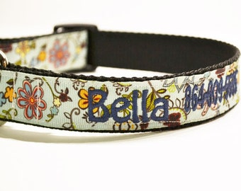 """Personalized Dog Collar - M/L/XL - Adjustable Dog Collar - Flower - Made to Order - 1"""" wide"""