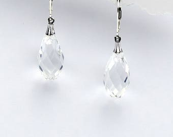 Clear Swarovski Crystal Briolette and Sterling Earrings
