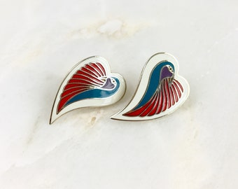Vintage Laurel Burch Enamel Dove Heart Earrings