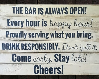 Hand-painted wood sign, Bar rules sign