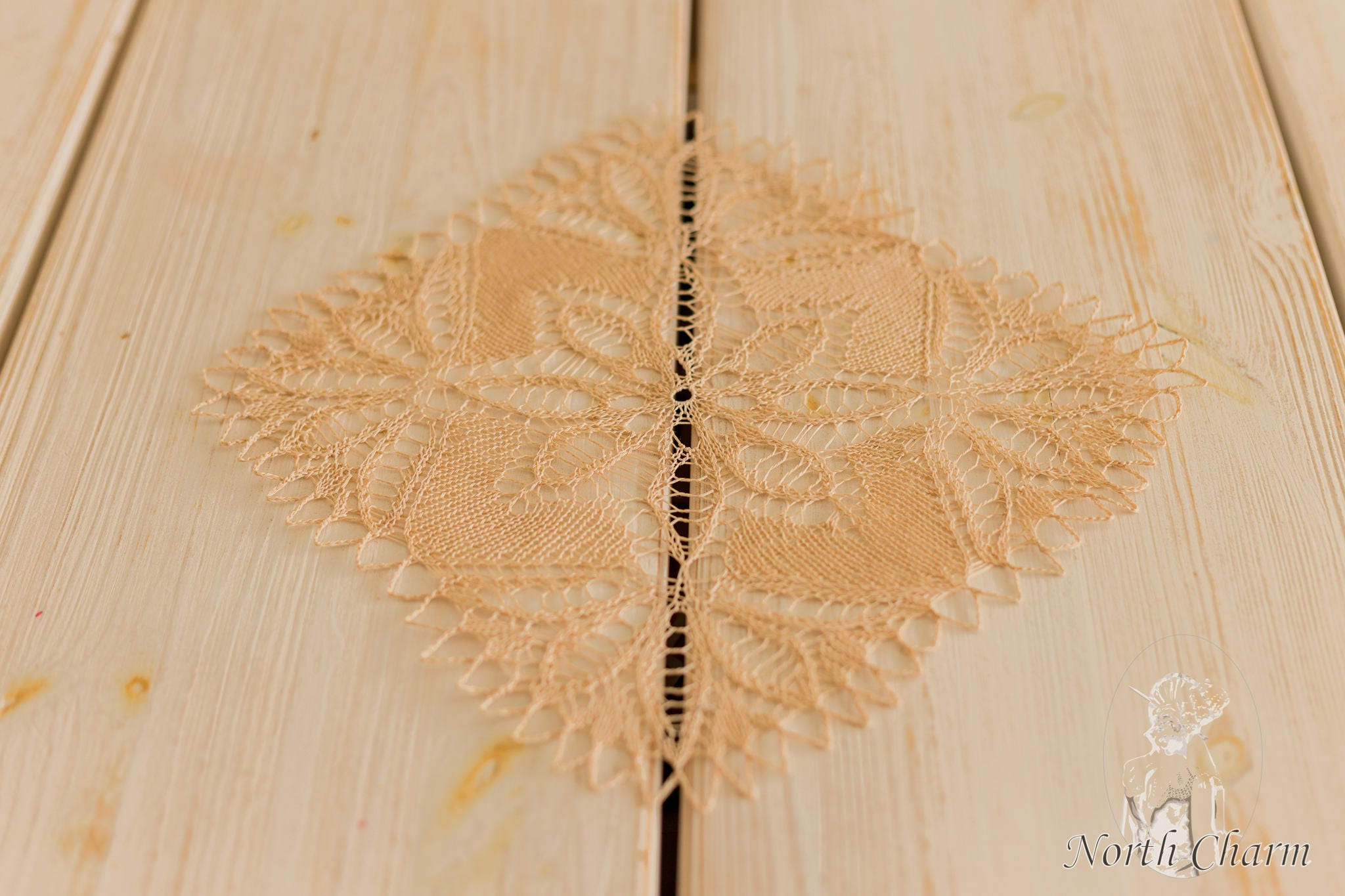 KNITTING PATTERN: Beige Knitted Lace Table Topper / Lace Table ...