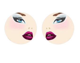 18mm, 2 female face, blue eyes cabochon