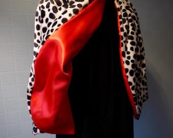 Dalmatian print cape, black and white cloak/wrap, animal print cape, fancy dress costume,  velboa faux fur cape,  adult or child size cape