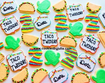 Taco twos day/Fiesta/Mexican/birthday/fiesta party/desert/pinata/avocado/cookie/sugar cookie/custom cookies/taco Tuesday/tacos/sugar cookies