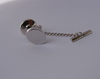 Vintage Silver-tone Oval Tie Tack