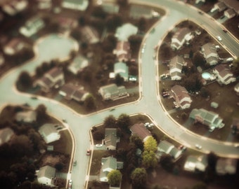 Aerial Photography: Tilt Shift Neighborhood, Toy Town, Cul-de-Sac Photo, Brown Neutral Decor, 5x5, 8x10, 11x14, 16x20