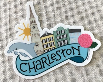 Charleston South Carolina Vinyl Sticker, Rainbow Row, Dolphin, Water Bottle Sticker, Laptop Sticker, Charleston Momento, Waterproof Sticker