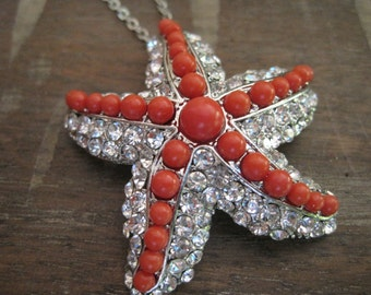 Red Beaded Starfish Necklace - Rhinestone Starfish Necklace - Silver Starfish Necklace - Large Starfish Necklace