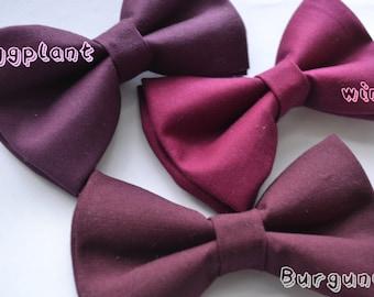 Wine Bow tie/Burgundy Bow tie/Eggplant bow tie, boys bow tie, baby bow tie, mens bow tie, Adult bow tie, wedding bow tie