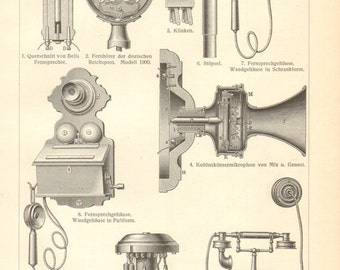 1904 Vintage Engraving of Telephones and Telephone Equipment