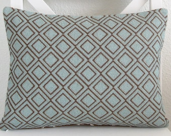 Lumbar pillow cover - Dusty blue - Brown - Geometric - 12x18 - lumbar cushion cover