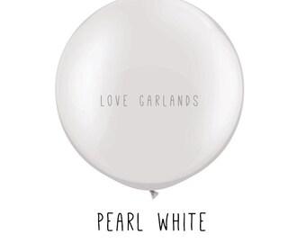 """Pearl White 36"""" Balloon, White Round Balloon, White Wedding Balloons, White Jumbo Balloons, Huge White Balloons, Ivory White Balloons"""
