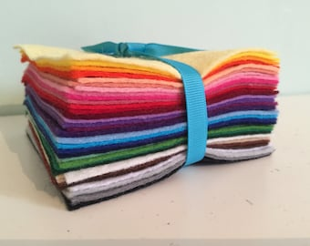 Wool Blend Felt Bundle - Rainbow of 35 colours - choice of pack sizes