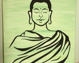 "Buddha Wall Art 24""x18"" original acrylic painting on canvas- home decor"