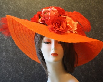 Orange Kentucky Derby Hat, Derby Hat, Garden Party Hat, Tea Party Hat, Easter Hat, Church Hat, Wedding Hat, Downton Abbey Orange Hat 099