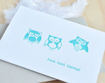 Cute Owl letterpress birthday card in turquoise Hoot Hoot Hooray - quirky fun animal card. Card for kids, All occasion card