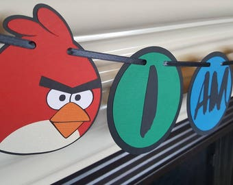 Angry Birds birthday, birthday banner, angry birds age banner