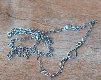 Oxidized Sterling Silver Chain with Handmade Clasp