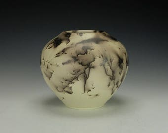 Horse Hair Raku Pottery.  Pale Yellow.  Terra Sigillata, hand polished.  Ready to ship.