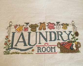 Laundry Room completed cross stitch
