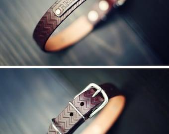 Personalized Leather Dog Collar, Custom Leather Dog Collar, Handmade personalized gift, number, Mahogany, Chevron Zig Zag pattern, FREE Name