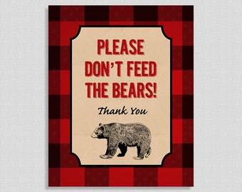 Please Don't Feed the Bears Digital Art Print, Lumberjack Party Sign, Red Flannel Baby Shower, INSTANT PRINTABLE