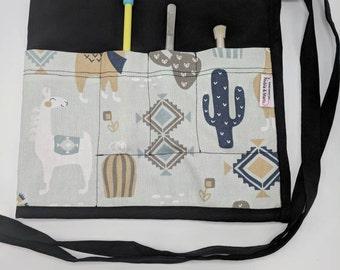 Hand-made Waist Apron with Light Gray/Blue Llama and Cactus Print