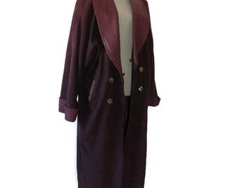 Maroon leather long coat 90s extravagant suede trench coat, Bordeaux long jacket for women, bohemian coat XL burghundy leather jacket.
