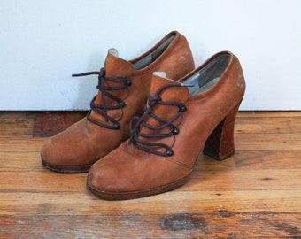 70s Brown Leather Heels - 7 / 37