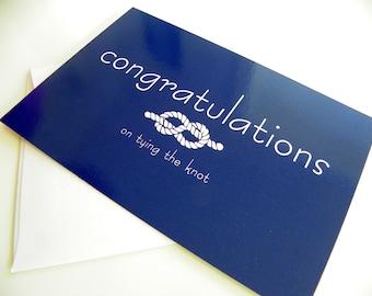 Wedding Congratulations Card Tying the Knot Card Wedding Card Modern Nautical Simple